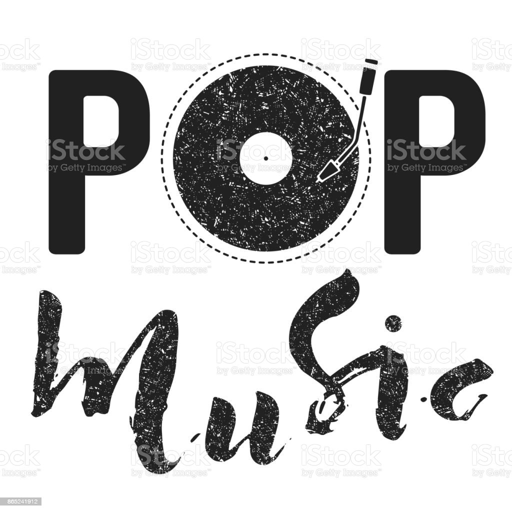 Pop music text art graphic calligraphy letters. Simple graphic logo with vynil vector art illustration