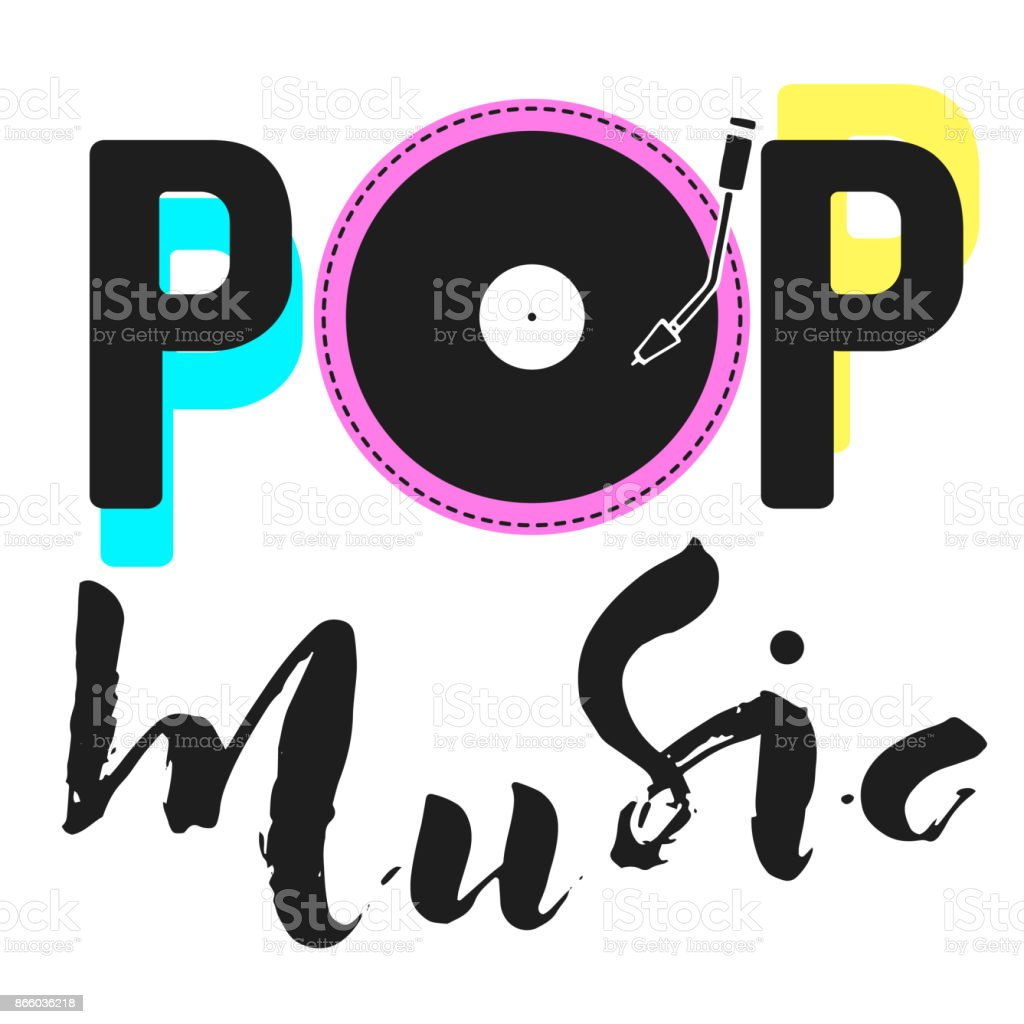 Pop music text art graphic calligraphy letters.Simple icon with vynil vector art illustration