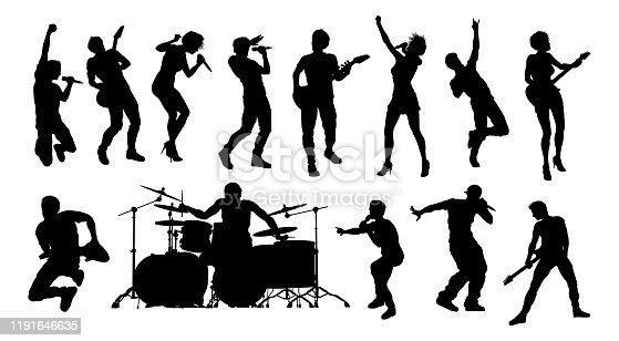 istock Pop or Rock Band Group Musicians Silhouettes 1191646635