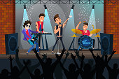 Pop rock concert flat vector illustration. Young musicians, performers cartoon characters. Boys band performing live on stage. Music show, club party, entertainment. Artists playing instruments