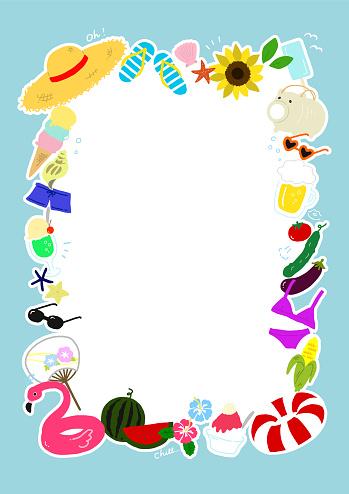 Pop Summer Hand Drawn Illustration Frame