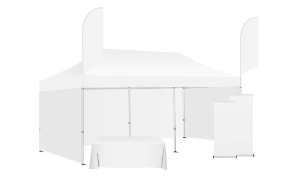 Pop up canopy tent with two flags, demonstration table and roll-up banners Pop up canopy tent with two flags, demonstration table and roll-up banners. Equipment for business or organization stands during the outdoor events. Vector illustration pavilion stock illustrations