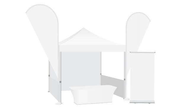 pop-up canopy zelt mit zwei fahnen, demo-tabelle und rollup-banner - ausstellungstische stock-grafiken, -clipart, -cartoons und -symbole