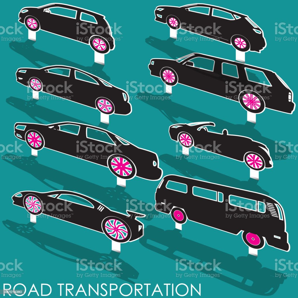 Pop up car icons vector art illustration