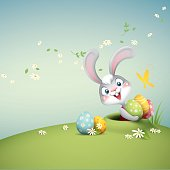 cartoon illustration of cute easter bunny popping up out of a hole holding pile of easter eggs