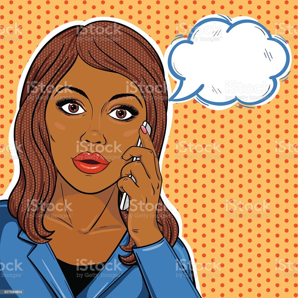 Pop-art african american business woman on phone with speech bubble vector art illustration