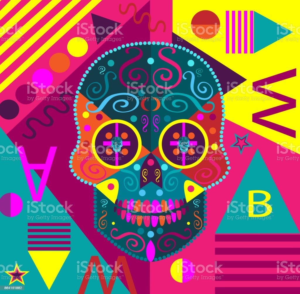 Pop-art colorful skull vector illustration background royalty-free popart colorful skull vector illustration background stock vector art & more images of art