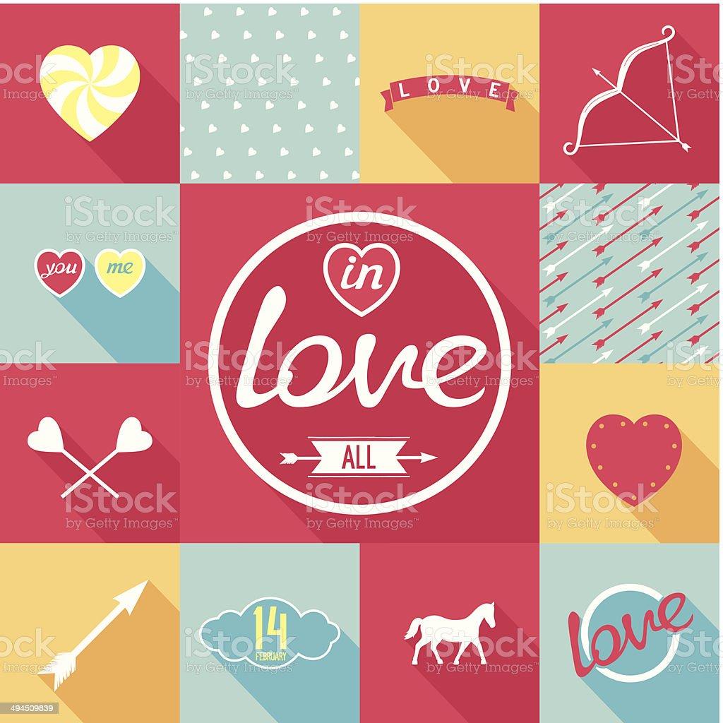 Pop-art set symbol of love vector art illustration