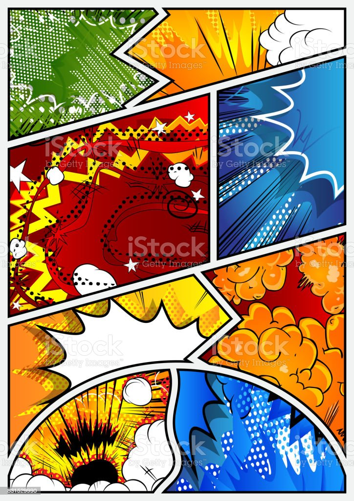 Pop-art style comic book page template. vector art illustration