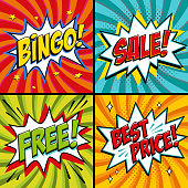 Pop-art web banners. Bingo. Free. Sale. Best price. Lottery game background. Comics pop-art style bang shape on a red twisted background. Ideal for web banners. Vector illustration.