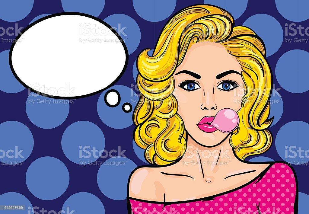 Pop-art woman with gum vector art illustration