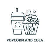 Popcorn and cola vector line icon, outline concept, linear sign