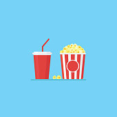 Flat design of popcorn in striped bucket and cold drink