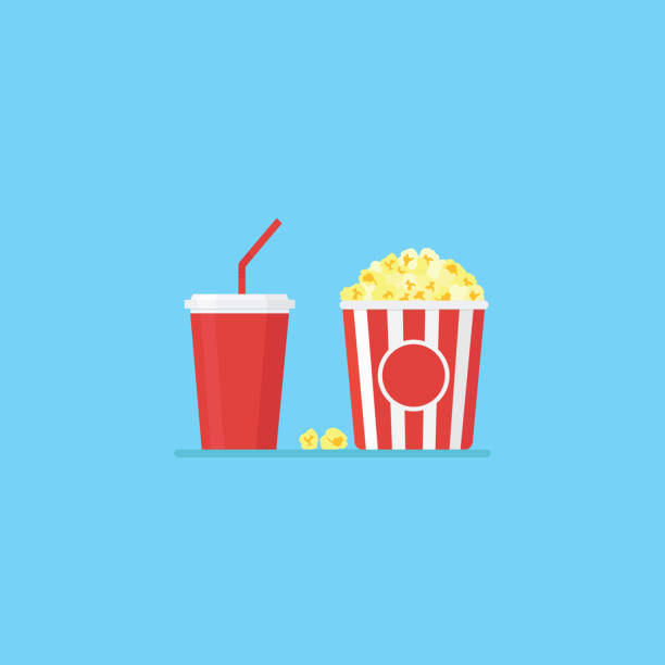 Popcorn and cold drink vector art illustration