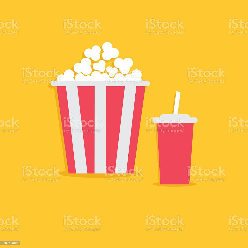 Popcorn and soda with straw. Cinema icon in flat dsign vector art illustration