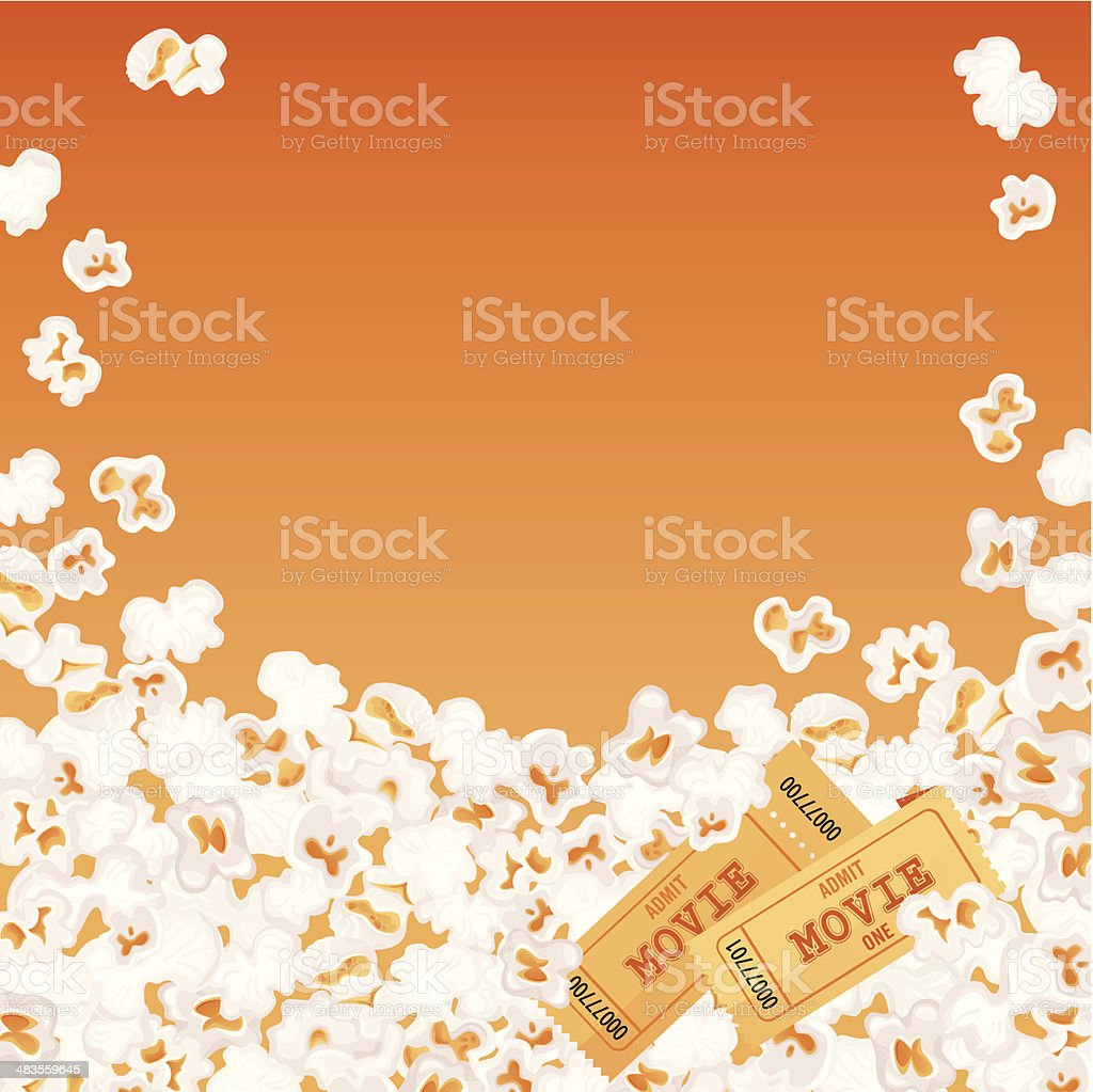Popcorn and Two Movie Tickets vector art illustration