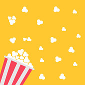 Popcorn bag. Cinema icon in flat design style. Vector illustration