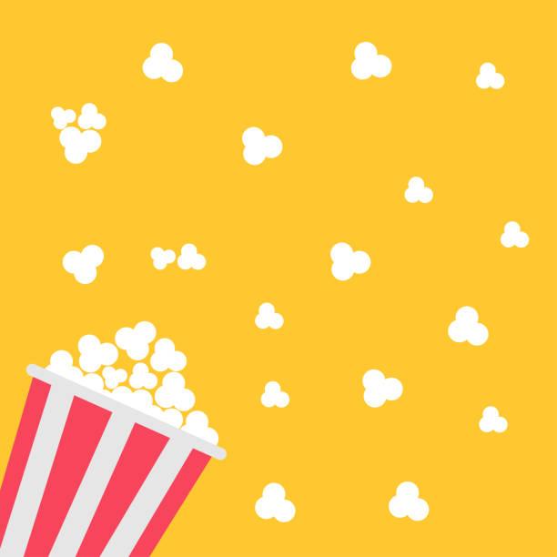 ilustrações, clipart, desenhos animados e ícones de saco de pipoca. ícone do cinema em estilo design plano. - pipoca