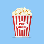 Popcorn box in flat style. Pop corn icon symbol food cinema movie film isolated on blue background. Vector stock