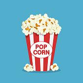 istock Popcorn box in flat style. 1224576073