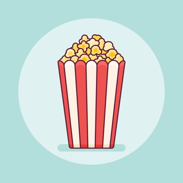 Popcorn bucket flat line icon vector art illustration