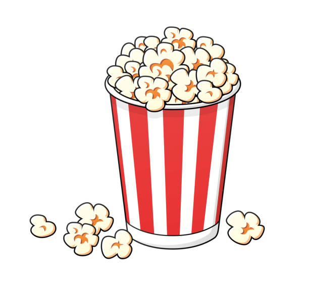 stockillustraties, clipart, cartoons en iconen met emmer popcorn - popcorn