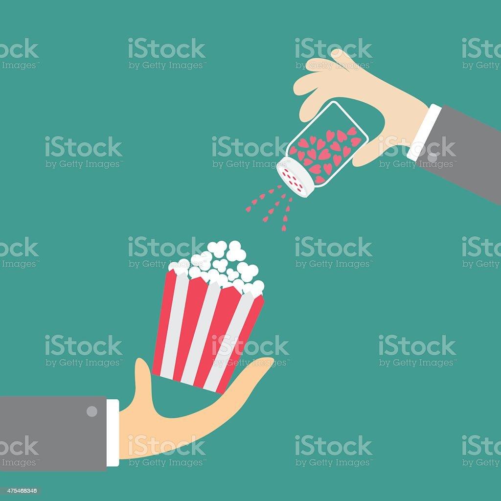 Popcorn. Businessman hand. Salt shacker with hearts. Cinema icon flat vector art illustration