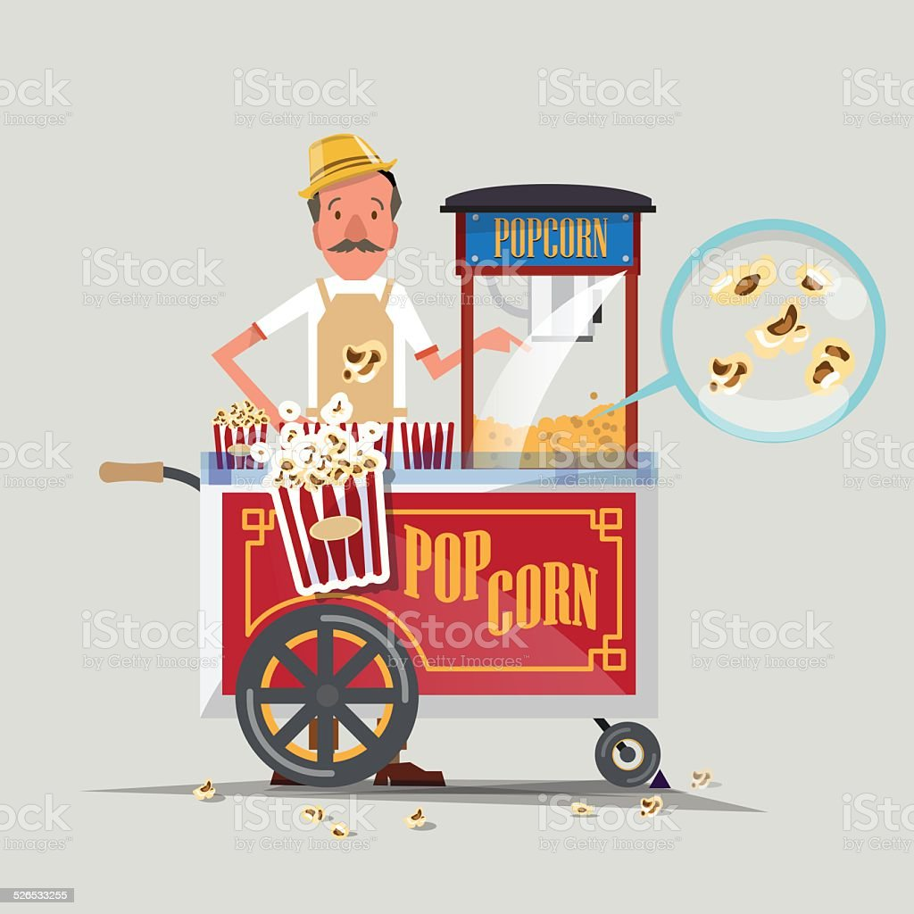 popcorn cart with seller - vector illustration vector art illustration