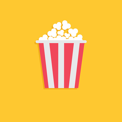 Popcorn. Cinema icon in flat dsign style.