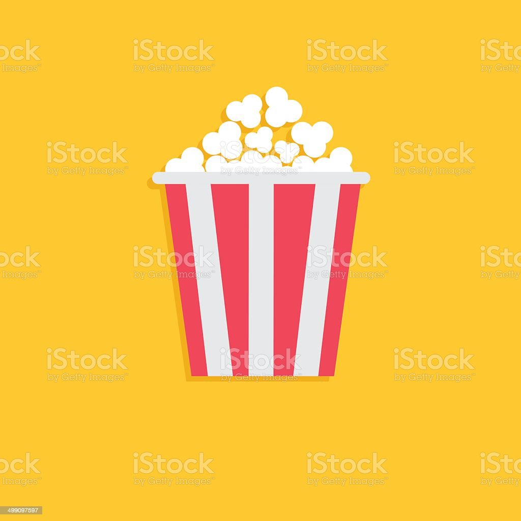 Popcorn. Cinema icon in flat dsign style. vector art illustration