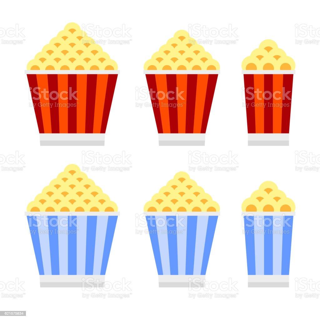 Popcorn Cinema Icon Set. Flat Design Style. Vector popcorn cinema icon set flat design style vector – cliparts vectoriels et plus d'images de accessoire libre de droits