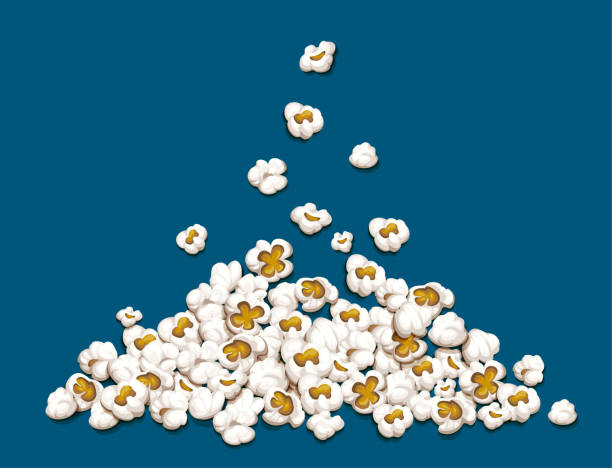 Popcorn fall down on heap vector illustration. Popcorn fall down on heap isolated on blue background. EPS10 vector illustration. popcorn stock illustrations
