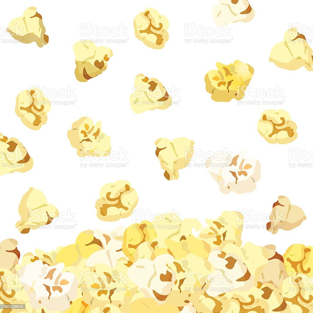 Popcorn falling isolated on white background. vector vector art illustration