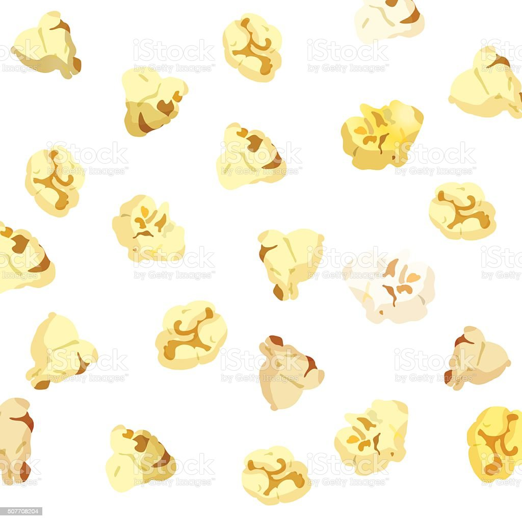 Popcorn falling on white background. vector vector art illustration
