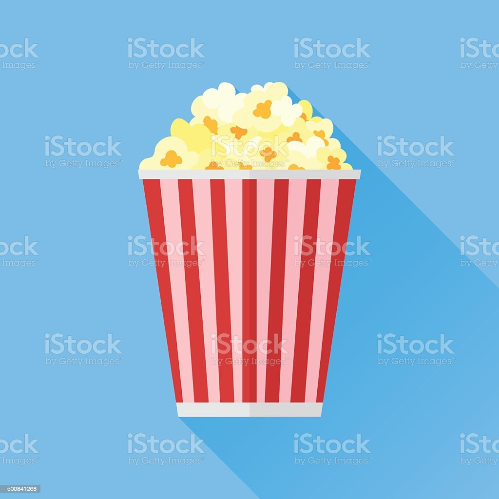 Popcorn flat icon vector art illustration