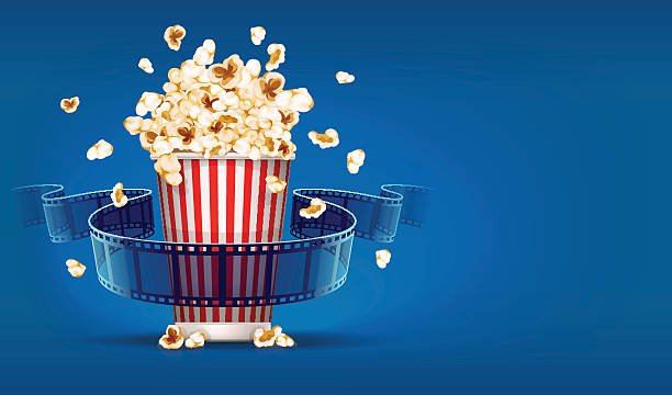 stockillustraties, clipart, cartoons en iconen met popcorn for cinema and movie film tape on blue background - popcorn