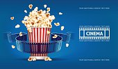 Popcorn for movie theater and cinema reel on blue background. Vector illustration. Transparent objects used lights shadows drawing