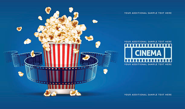 stockillustraties, clipart, cartoons en iconen met popcorn for movie theater and cinema reel on blue background - popcorn