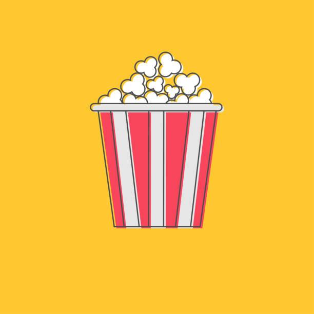 Popcorn icon. Cinema movie line icon in flat design style. Yellow background. Popcorn icon. Cinema movie line icon in flat design style. Yellow background. Vector illustration popcorn stock illustrations