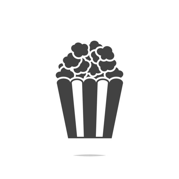 stockillustraties, clipart, cartoons en iconen met popcorn pictogram vector geïsoleerd - popcorn