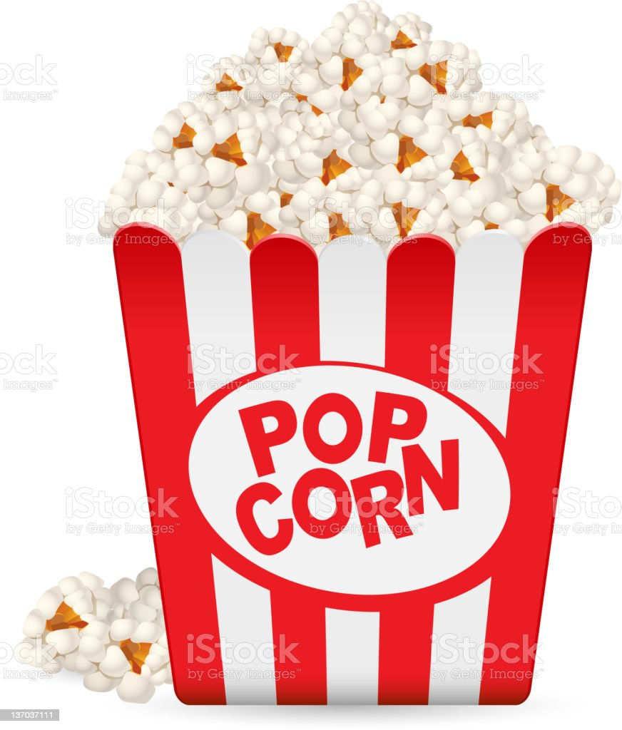 Popcorn in a striped tub vector art illustration
