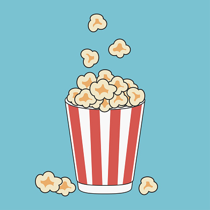 Popcorn in paper cup print. Vector