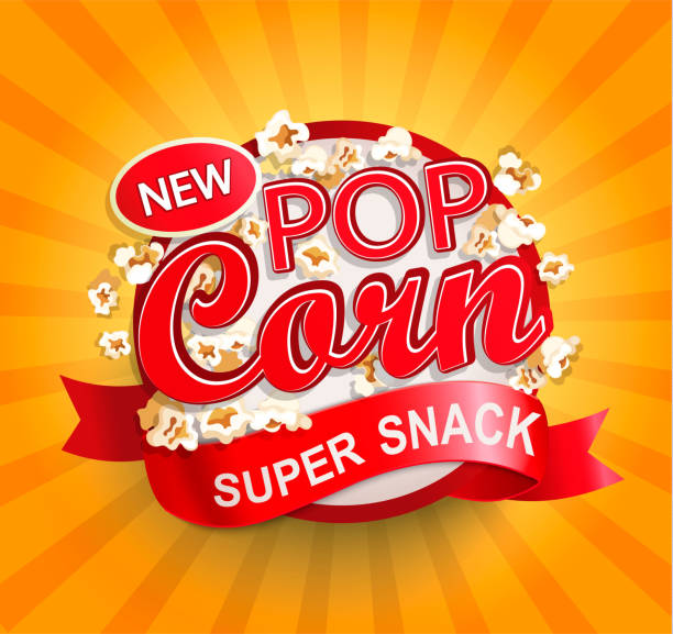 stockillustraties, clipart, cartoons en iconen met popcorn label op sunburst achtergrond. - popcorn
