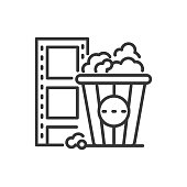 Popcorn - line design single isolated icon on white background. High quality black pictogram. An image of a cup and a film strip. The idea of fast food in the cinema, leisure, entertainment