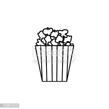 Popcorn Line Icon Single High Quality Symbol Of Fast Food For Web