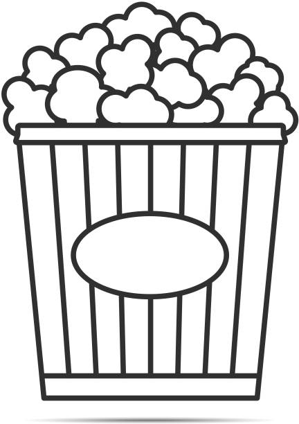 stockillustraties, clipart, cartoons en iconen met popcorn lijn pictogram - popcorn