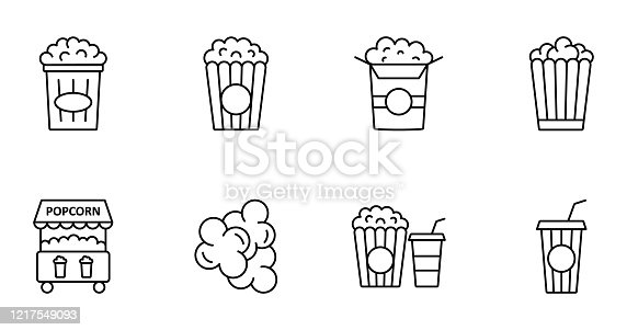 Popcorn line icons. Set of 8 vector images with editable stroke isolated on white background for web design, website.
