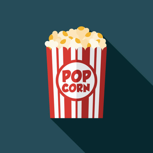 stockillustraties, clipart, cartoons en iconen met popcorn filmpictogram - popcorn