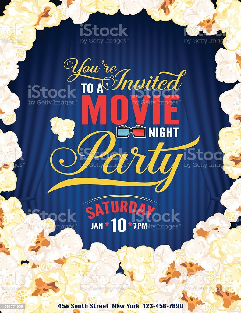 Popcorn Movie Night Party Invitation Template With Curtain