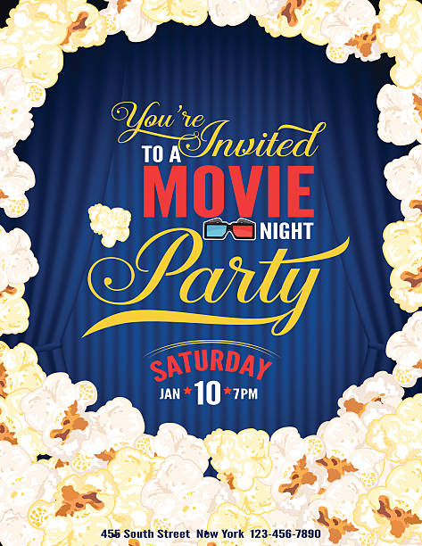 stockillustraties, clipart, cartoons en iconen met popcorn movie night party invitation template with curtain - photography curtains